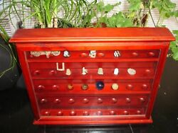 Knick Knack Curio Shadow Box Cabinet Wall Display Marbles Thimbles Relics Golf