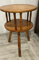 Vintage Antique Round 2-tier Wood Side Table 3 Leg Table Pick Up Clifton Nj