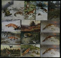 Fox, Geese, German, Russian, H.k.andco, Npg, Antique Foreign Postcard Lot Of 14
