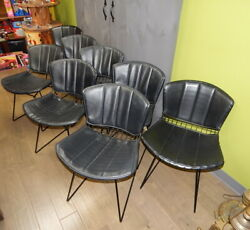 8 Knoll Harry Bertoia Mcm Mid Century Modern Steel Wire Dining Room Chairs Black
