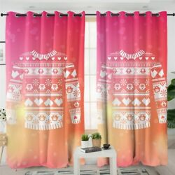 Jumper Sweater Love Animal Pink Gift Window Living Room Bedroom Curtains Drapes