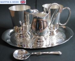 British Royal Warrant Mappin And Webb Sterling Silver P Tea Time 5 Piece Set