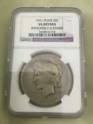 1921- Peace Dollars Vg Detail  Key Date Rare Collection Coin