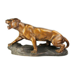 Vintage 20th Italy Rare Original Terracotta Sculpture Tiger By R. Capald Signed