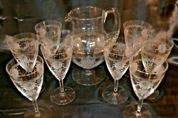 Heisey Glass Pied Piper 3 Pt. Jug And Eight 8 Water Ice Tea Glasses Wabash 3350