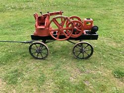 Antique Hit And Miss Engine - Little Jumbo Mud / Water / Trash Pump And Cart - Runs
