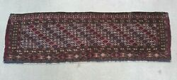 Antique Turkoman Torba Yomud Tribal Hand Knotted Wool Textile Rug 1and039 X 4and039