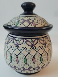 Javier Servin Mexico Hand Made/painted Pottery Covered Jar With Lid Signed H1