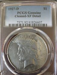 1927 D Silver Peace Dollar Pcgs Graded Genuine Cleaned Xf Details