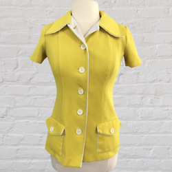Vintage Womens 60s Mod Polyester Button Down Top Small Medium Yellow