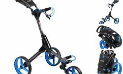 Cart 3 Wheel Push Pull Golf Cart - Two Step Open/close - Charcoal/blue