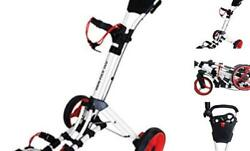 360 Swivel 3 Wheel Push Pull Golf Cart With 360 Rotating Front White/red