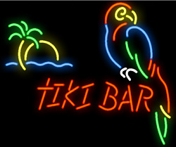 New Tiki Bar Parrot Palm Tree Neon Sign 20x16 Light Lamp Wall Collection St365