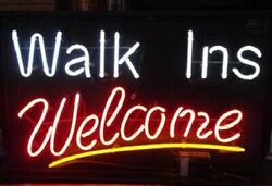 New Walk Ins Welcome Neon Sign 20x16 Light Lamp Store Wall Collection St374