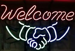 New Welcome Shake Hands Neon Sign 20x16 Light Lamp Store Bar Collection St376