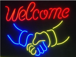 New Welcome Shake Hands Neon Sign 20x16 Light Lamp Wall Glass Collection St381