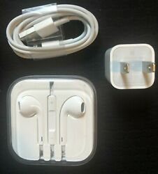 Genuine Charger Cable Cord And Original Headphones - Apple Iphone 5 5s 6 6s 7 Se