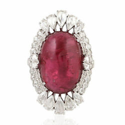 18.1ct Oval Cut Rubylite And Diamond Cocktail Ring 18k White Gold Women Jewelry