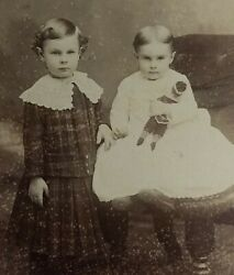 Lovely Antique Cabinet Card Sisters Cute Girls W/ Doll Victorian Oneida Ny Boy
