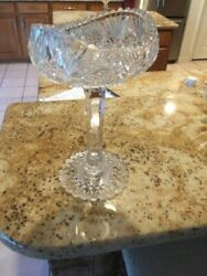 American Brilliant Cut Glass Antique Crystal Hobstar Compote/dish