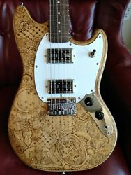 Squier Bullet Mustang Hh Custom Pyrography Art Guitar By Sparka Studios