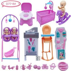 Barbies Princess Doll Accessories Table + Cot + Toilet + Little Doll Plastic