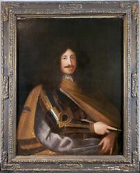 Huge Antique 18th C. Portrait Of Emperor Leopold I In Knight Armor Oil Painting
