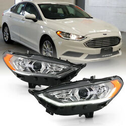 For 17-19 Ford Fusion Halogen Model W/led Drl Projector Headlight Driving Lamp