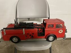 Vintage Pressed Steel 1960and039s Buddy L Texaco Fire Chief Fire Truck U.s.a Made