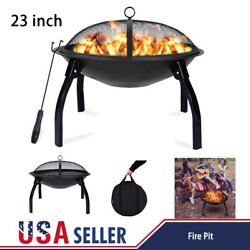 23 Fire Pit Firepit Bowl Wood Burning Heater Outdoor Backyard Patio Stove Bbq