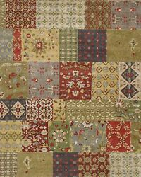 Pottery Barn Franesca Patchwork Oriental Handmade Wool Area Rug 5and039 X 8and039
