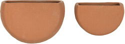 Main Mesa Hanging Stoneware Ceramic Wall Planters Set of 2 7.5quot; x 5quot; and 6quot;