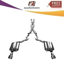 14332 Corsa 304 Ss Cat-back Exhaust System W/split Rear Exit For Mustang 15-17