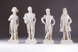 Vintage Antique Shiebe Albach Set Biscuit Figurine Four Military Men French Army