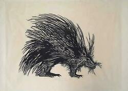 Leonard Baskin Porcupine Wood Engraving Signed And Dedicated In Pencil