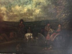 Hunting Party 17thc Flemish Attributed Philip Wouverman 1619-1668 Oil Painting