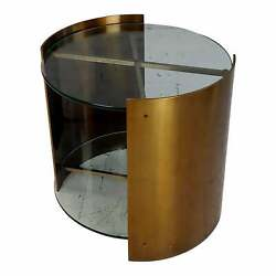Brass And Two Tiers Glass Cylinder Side Table