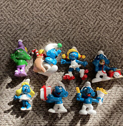 Lot Of 7 Vintage Smurfs Peyo/schleich Figures Figurines Hong Kong 1980and039s