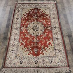 Yilong 4'x6' Handmade Silk Carpets Home Decor Indoor Antistatic Red Rugs Y88b