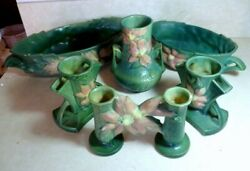 Vintage Roseville Pottery 6 Pieces Vases, Planters, Bowls, Great Condition
