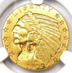 1909-d Indian Gold Half Eagle 5 Coin - Certified Ngc Au Details - Rare Coin