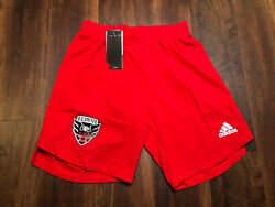 New Adidas Mens Dc United Mls Soccer Shorts Size 2xl Red