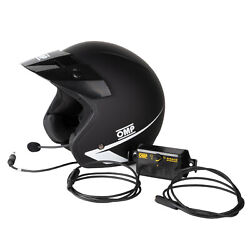 Omp Open Black Helmet Star J With Headset And Intercom Amplifier Rally Track Day