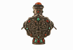 Mongolia 19 20. Jh Antique Mongolian Silver Snuff Bottle Coral And Turquoise