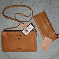 American Leather Co Nwt Austin Crossbody Purse And Wallet Cafe Latte Smooth New