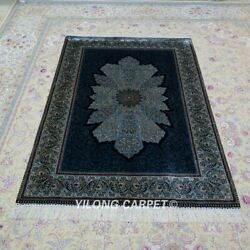 Yilong 4and039x6and039 Handknotted Silk Rug Blue Home Office Antistatic Carpet Z479a