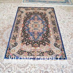 Yilong 4and039x6and039 Blue Handwoven Silk Carpet Traditional Eco Friendly Area Rug Z474a