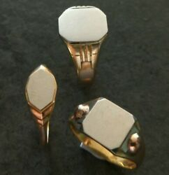 3 X French Art Deco Signet Rings - C.1920 - 18ct Gold - 15.6g