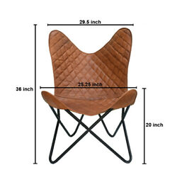 Handmade Vintage Leather Arm Relax Butterfly Chair Home Décor Living Room Chairs