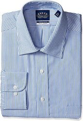 Eagle Men's Tall Fit Dress Shirts Non Iron Stretch Collar Stripe Big And Tall